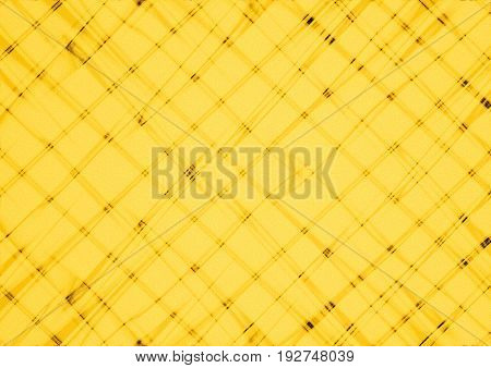Abstract yellow background covered are unevenly intersecting blurred light orange thin lines and black spots