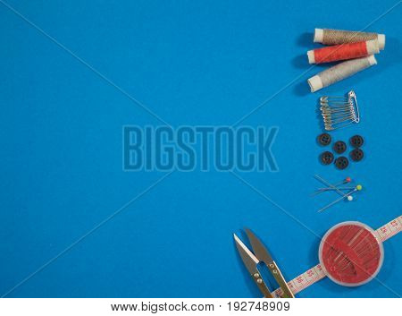 Sewing accessories on work table, copy space