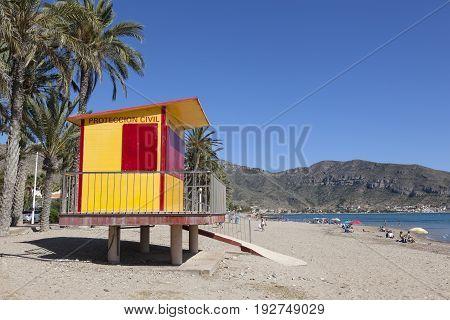 La Azohia Spain - May 14 2017: Lifeguard station on the beach in town La Azohia. Region of Murcia southern Spain