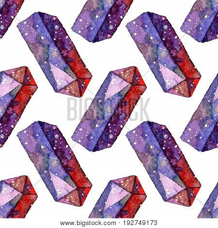 Vector Watercolor illustration of diamond crystals - seamless pattern. Stone jewel background. Can be used for textile design, wallpaper. Brush drawing elements. Gemstones texture