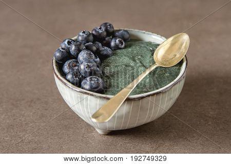 Fresh Juicy Bluesberries Spirulina Smoothies In The Glass. Simpl