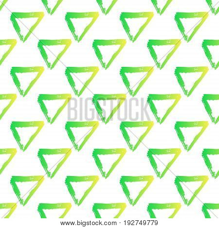 Vector seamless pattern with brush triangles Yellow green gradient color on white background. Hand painted grange texture. Ink geometric elements. Fashion modern style. Endless fabric print