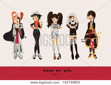 Lovely visual kei girls. Different hairstyles emotions accessories posing isolated on background. Creative collection with subculture lolly style gothic.