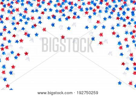 USA celebration confetti stars in national colors. Blue, red and white stars with motion blur for independence day isolated on white background. Vector illustration.
