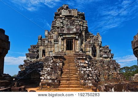 Main tower with altar of ancient hinduism temple in Angkor Cambodia