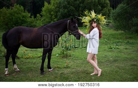 Young beautiful Slavic girl in a wreath from wild flowers stands near the horse. Holiday of Ivan Kupala.