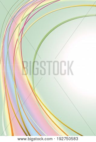 Absract greenish gradient background with strips of different colors in pastel shades