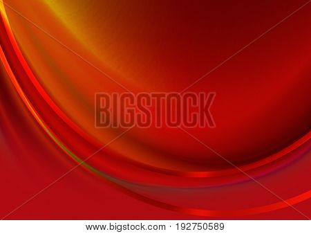 Abstract red background with convex the concave wave covered satin red stripes