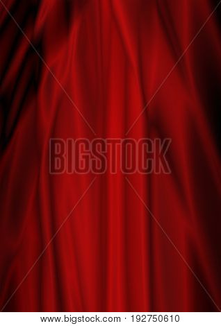 Abstract satin gradient red backgroundwith folds and waves