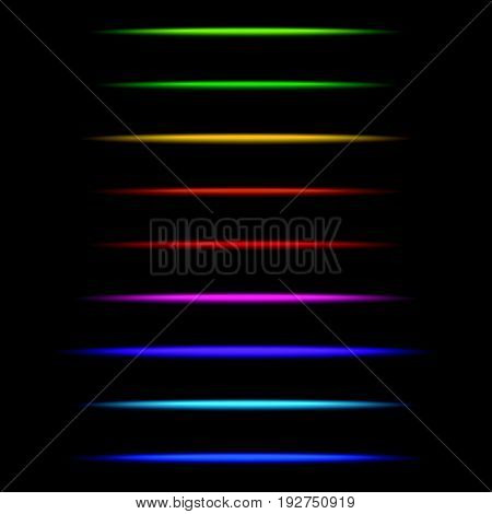 Horizontal Light Streak Effect In Several Colors. Colorful Beams, Rays. Shiny Transparent Light Effe