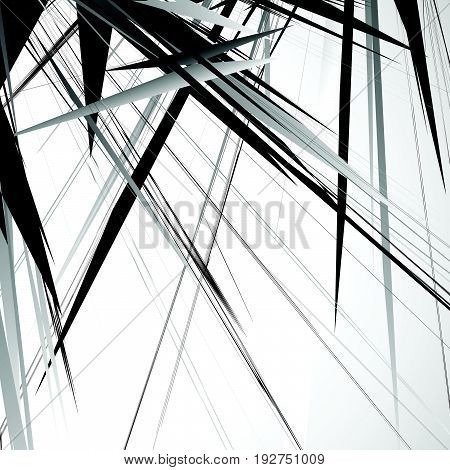 Edgy, Rough Geometric Pattern. Irregular, Chaotic Random Shapes. Abstract Black And White Element