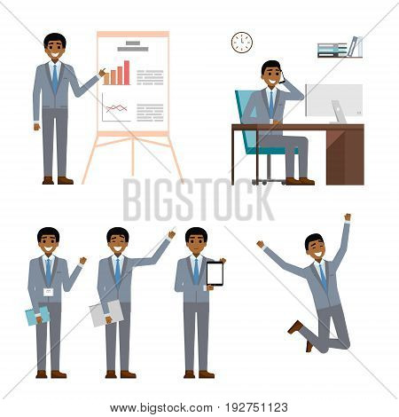 Businessman character design set. African black business man in suit making project presentation, point and showing laptop tablet, talk on mobile phone. cartoon flat. vector illustration isolated