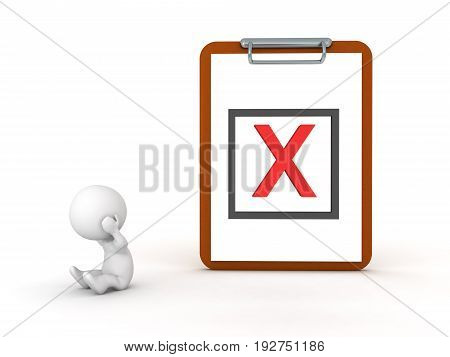 3D Character Depressed Next To A Clipboard With  Red X Mark