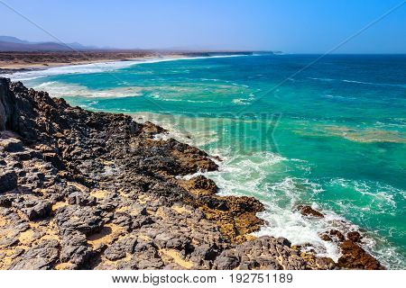 Beach In El Cotillo Village In Fuerteventura Island, Spain