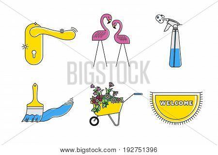 Plastic flamingos, golden door handle, cleaning disinfection spray, brush and paint stroke, garden blooming flowers cart, welcome doormat. Flat household