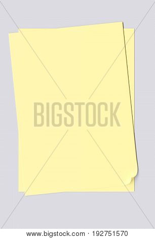 Blank sheets of yellow paper isolated on gray background. 3d image