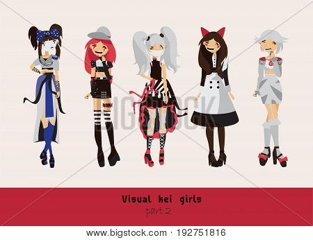 Lovely visual kei girls. Different hairstyles emotions accessories posing isolated on background. Creative collection with subculture lolly style gothic