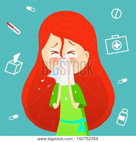 Sick girl. Allergy kid sneezing. Vector cartoon illustration. ill child with flu or virus. Health care concept. Runing noise symptom. infographic poster. Season allergy.