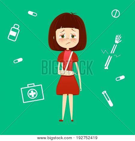 Child broken arm in cast. Sad young girl with broken hand bone vector illustration. Health care medical concept
