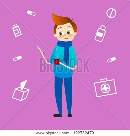 Sick boy with high temperature looking at thermometer. Child with flu or cold, heat. Kid with fever and illness with sore throat in scarf. Sickness symthtomps vector illustration in cartoon style
