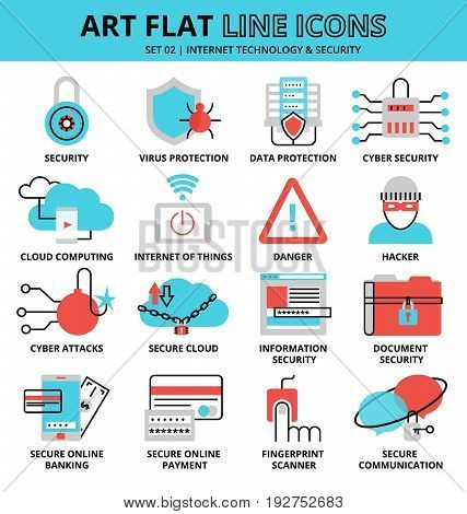 Modern flat design vector illustration set of internet technologies and security icons for graphic and web design