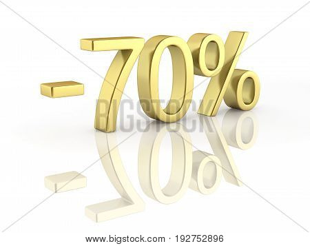 Gold Text 70 Percent Off On White Background With Reflection 3D Render