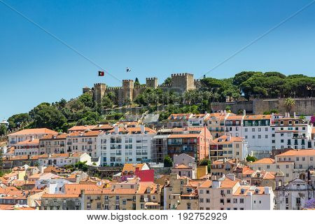 Aerial View Of Roofs And Castle Of Alfama, The Historic Area Of Lisbon
