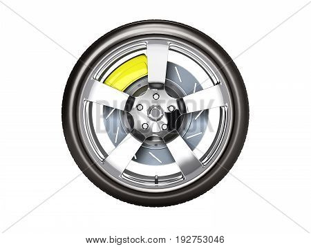 Car Wheel With Brake Side View Isolated On White Background 3D