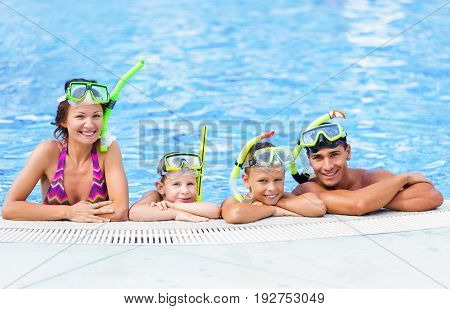 Pool happy family swimming recreational holiday female
