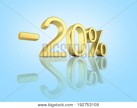 Gold Text 20 Percent Off On Blue Gradient Background With Reflection 3D Render