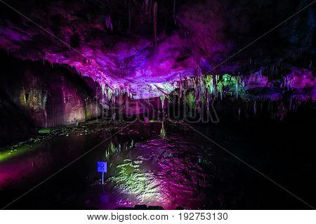 Sataplia cave near Kutaisi Georgia on July 11 2015. It is one of Georgia's natural wonders with many breathtaking examples of stalactites stalagmites.