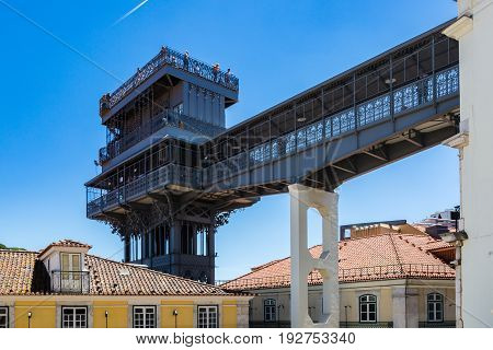 Santa Justa Lift Built By Raoul Mesnard In 1902 In Lisbon, Portugal