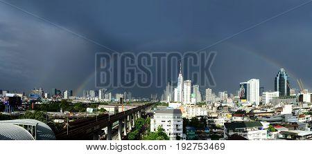 Beautiful Rainbow over Bangkok city Thailand as background