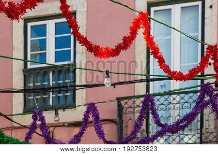 The Decoration Of The Alleyways Of The Old Historic District Of Lisbon, Alfama, Portugal.