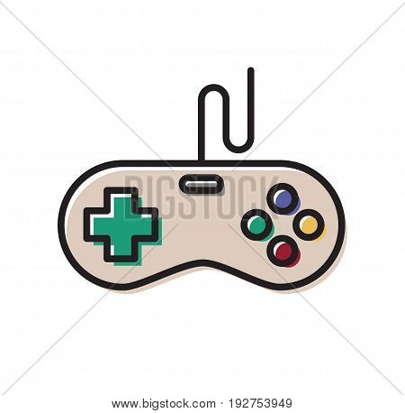Gamepad icon. Game controller concept. Old gamepad. Vector stock.