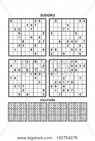Four sudoku puzzles of comfortable (easy, yet not very easy) level, on A4 or Letter sized page with margins, suitable for large print books, answers included. Set 4.