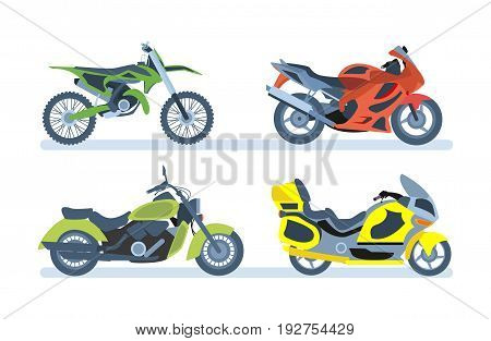 Ground vehicles. Transport modern motorbike with power engine. Different types of modern motorcycles: sports, tourist, classic, off-road. Vector illustration isolated on white background.