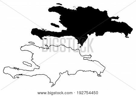 Hispaniola map vector illustration , scribble sketch Hispaniola