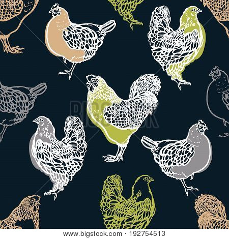 Seamless pattern with cocks and chicken. Poultry. Farming. Livestock raising. Hand drawn. Vector illustration.