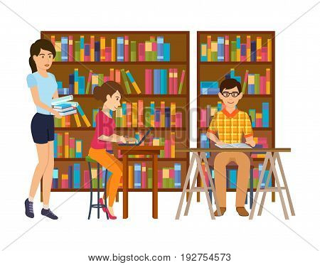 Young people in the library room, are engaged and are looking for information, working with materials, literature, study the data. Interior room. Education in library school or university