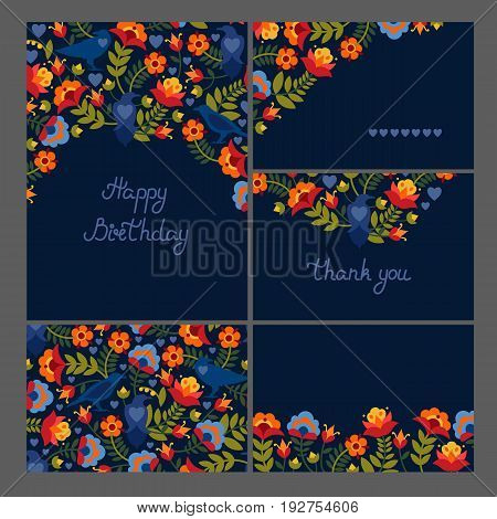 Corporate identity. Set of greeting cards, seamless texture. Motif with birds ravens and flowers. Flat style. Vector illustration.