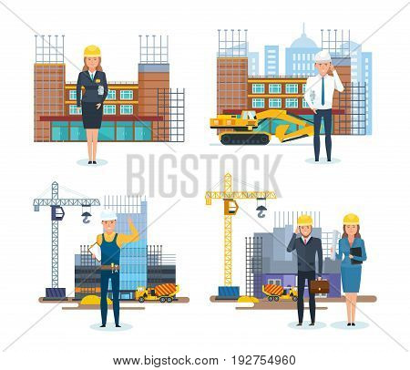 Chief engineer and head of a construction company, against the background of construction buildings, technique, equipment in process. Vector illustration set in cartoon style, isolated.
