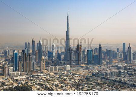 Dubai Skyline Burj Khalifa Downtown Aerial View Photography