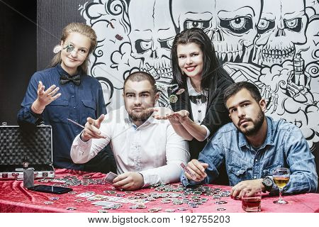 Friends Beautiful Young Successful Gambling In Casino You Play Poker At A Table