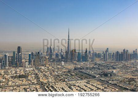 Dubai Burj Khalifa Skyscraper Aerial View Photography