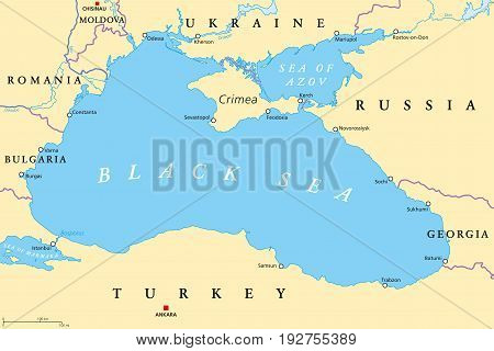 Black Sea and Sea of Azov region political map with capitals, most important cities, borders and rivers. Body of water between Eastern Europe and Western Asia. Illustration. English labeling. Vector.