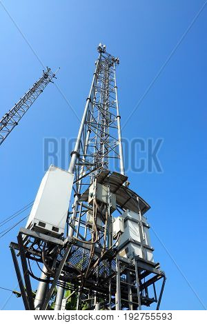 High power box and pole at Bangbuathong Nonthaburi province in Thailand Background is blue sky.