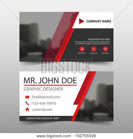 Red black corporate business card name card template horizontal simple clean layout design template Business banner template for website