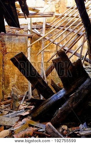 Interior shot of a collapsed and abandoned building