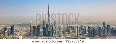 Dubai Skyline Burj Khalifa Skyscraper Panorama Panoramic Aerial View Photography